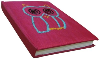 Indha Craft Owl Embroidery Pink A6 Diary Hand Sewn-0