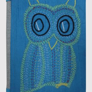 HANDMADE RECYCLE PAPER OWL EMBROIDERY DIARY-0