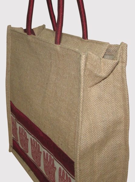 INDHA HAND OF FATIMA PRINT JUTE LUNCH BAG-807