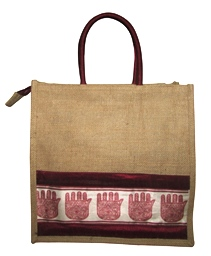 INDHA HAND OF FATIMA PRINT JUTE LUNCH BAG-808