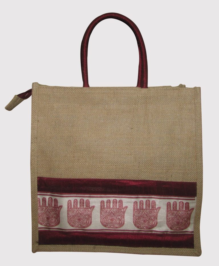 INDHA HAND OF FATIMA PRINT JUTE LUNCH BAG-0