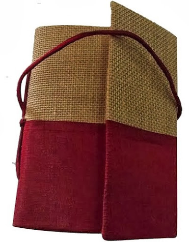 Indha Handmade Recycled paper Jute Dupion Bahi Folding diary-0