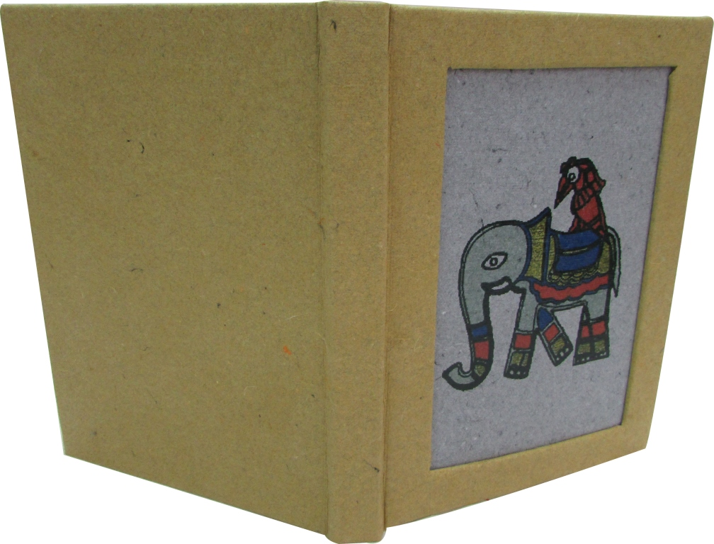 Indha Handmade Recycled paper Elephant print diary-0