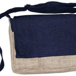 Indha Craft Organic Jute and Denim Laptop Messenger bag-0