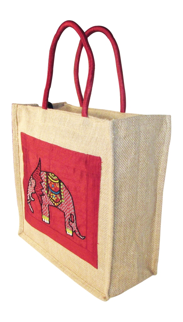 Indha Elephant Embroidery Gift and Lunch Jute Bag-0