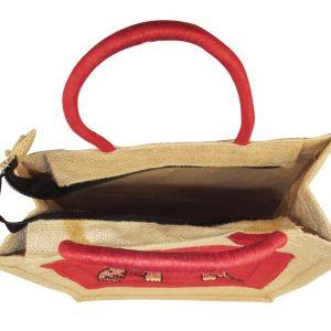 Indha Elephant Embroidery Gift and Lunch Jute Bag-1894
