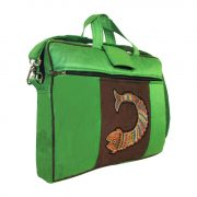 """Indha Women 15.0"""" Laptop Bag in Fish Design Embrodery Patchwork Green Color-0"""