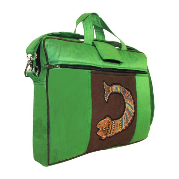Indha Women 15.0″ Laptop Bag in Fish Design Embrodery Patchwork Green Color-0