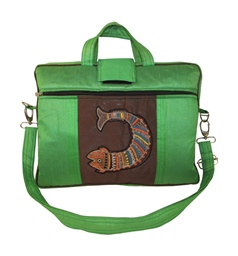 Indha Women 15.0″ Laptop Bag in Fish Design Embrodery Patchwork Green Color-1924