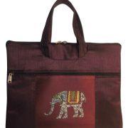Indha Craft Elephant Print Laptop Bag purple color -0