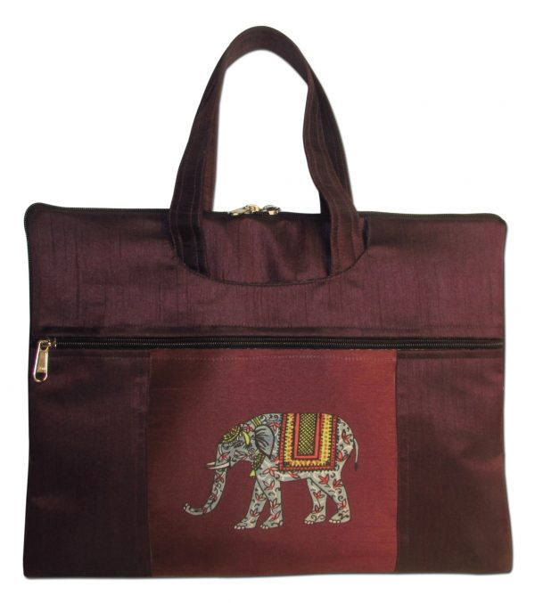 Indha Craft Elephant Print Laptop Bag purple color -0