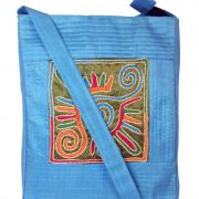 Indha Craft Sling Bag Smart No.1 Design Embroidered Patch Sky Blue Color-0