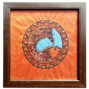 Glass Coaster with Fish Embroidery