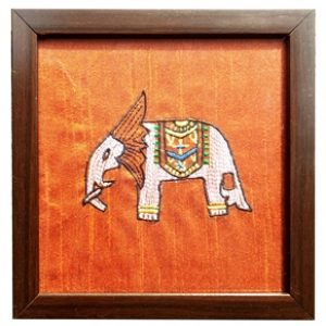 Glass Coaster with Elephant Embroidery