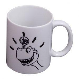 Dinosaur Print Coffee Mug with Handmade Block Print Box