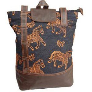 Horse Block Print Single Handle Backpack Bag