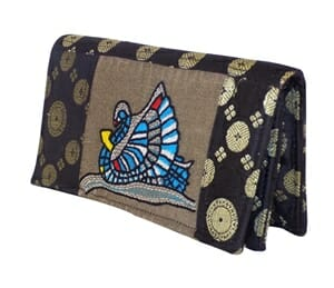 brocade swan emb clutch purse