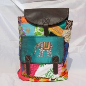 "14 l"" Elephant Print Cotton Patchwork Backpack"