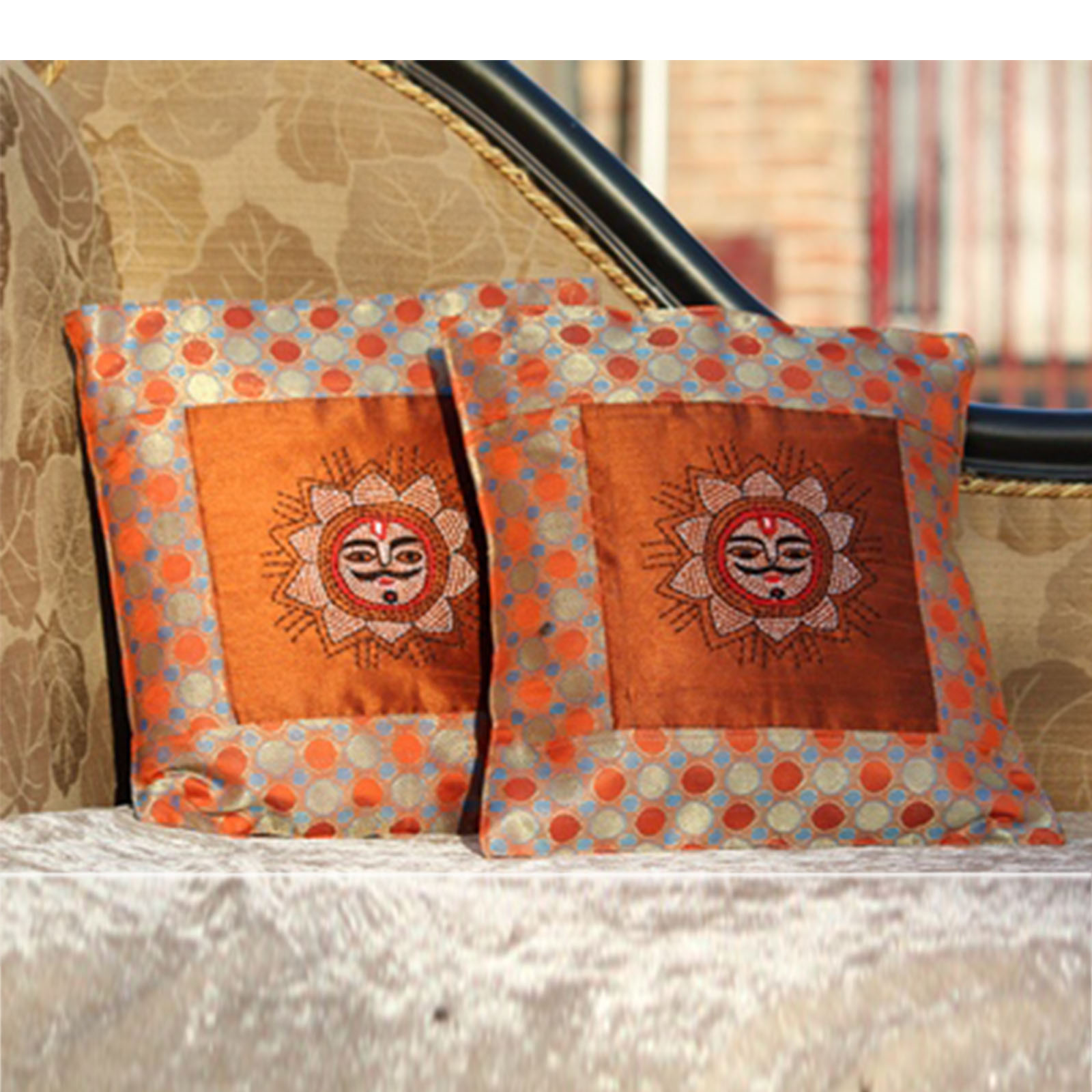 12X12 Orange Colour Ethnic Cushion Cover Set Of 2