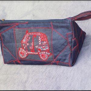 Auto Rickshaw Embroidery Denim Zig Zag Multipurpose Pouch
