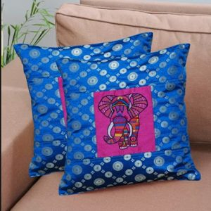 12″inch  Elephant Embroidery Brocade Cushion Cover