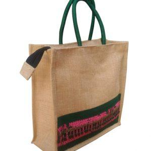 Handmade Jute Lunch Bag With Zipper Lock