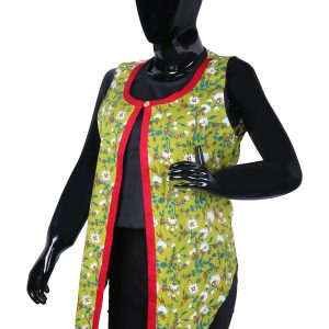 Women Green Hand Block Printed Open Front Ethnic Jacket