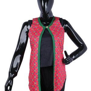 Women Red Colour Block Printed Open Front Ethnic Jacket