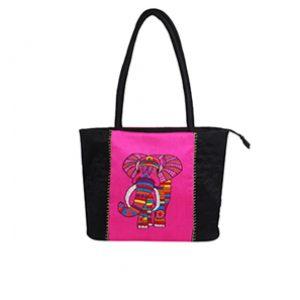 Indha Craft Elephnat Embroidery Shoulder Bag ( Black and Pink)