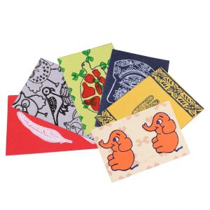 Indha Craft Block Printed  Multicolor Greeting Card Set Of 6
