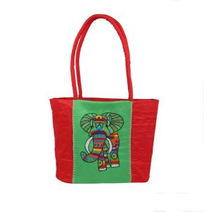 Indha Craft Elephant Embroidery Shoulder Bag ( Green and Red )