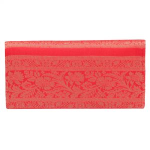 Indha Craft Red Colour Zari Work Ethnic Silk Clutch Purse For Girls/Women