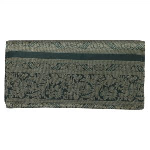 Indha Craft Zari Work Green Silk Colour Ethnic Clutch Purse Ideal For Gilrs and Women