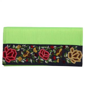 Indha Craft Hand Embroidery Work Green Colour Silk Clutch Purse for Girls/Womens