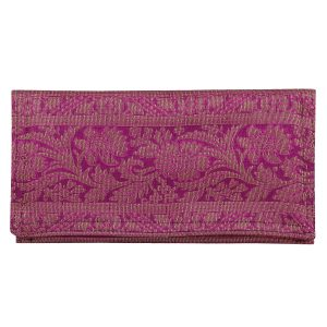 Silk Zari Work Purple Colour Small Clutch Purse Ideal For Girls/Women