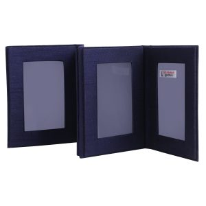 Indha Navy Blue Colour Wood Four Fold Photoframe