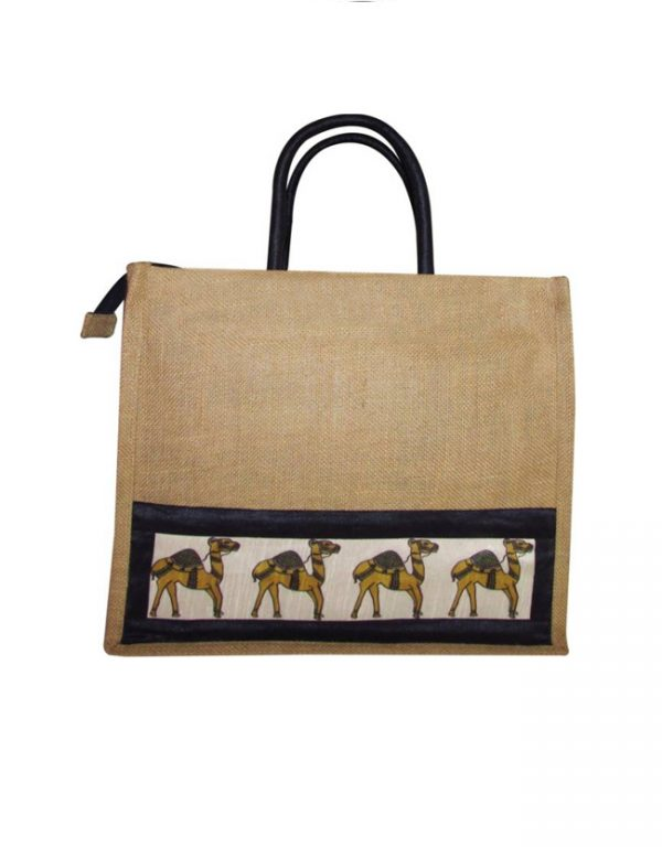 jute lunch bag camel print