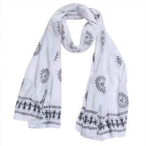 Indha Craft White Traditional Hand Block Print Girls/Women Stole