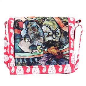 Multi Pocket Sling Bag with Quirky Digital Print