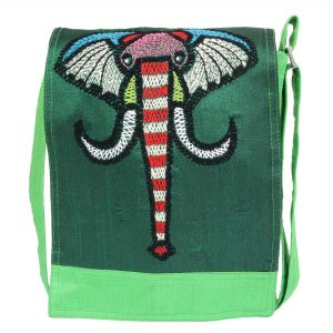 Green Dupion Silk Embroidered Sling Bag