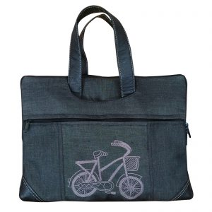 Black Colour Denim Laptop Bag