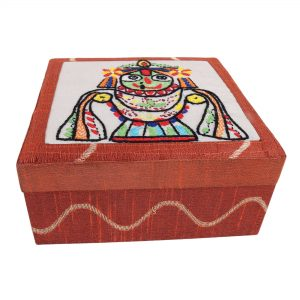 Hand Embroidered Jagannath Motif Rust Colour Multi utility Make Up and Jewellery Vanity Box