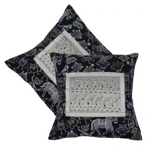 16″ Cotton Hand Block Printed Cushion Cover pack of 2