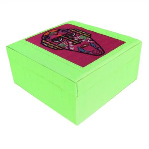 Hand Embroidered Face Motif Green Colour Multi Utility Make Up and Jewellery Vanity Box