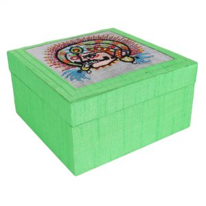 Chhau Mask Embroidered Motif Jewellery Box Vanity Box