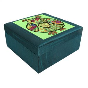 Embroidered Owl Motif Teal Green Colour Multi utility Make Up and Jewellery Vanity Box