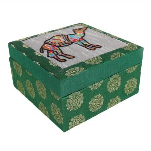 Handmade Green Colour Square Shape Jewellery Box