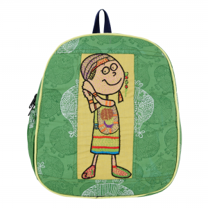 Green Colour Cotton Hand Block Printed Kids School Bag