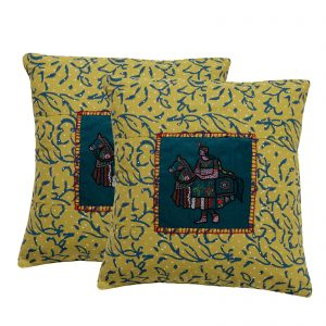 16″ Cotton Hand Block Printed Pack of 2 Cushion Cover