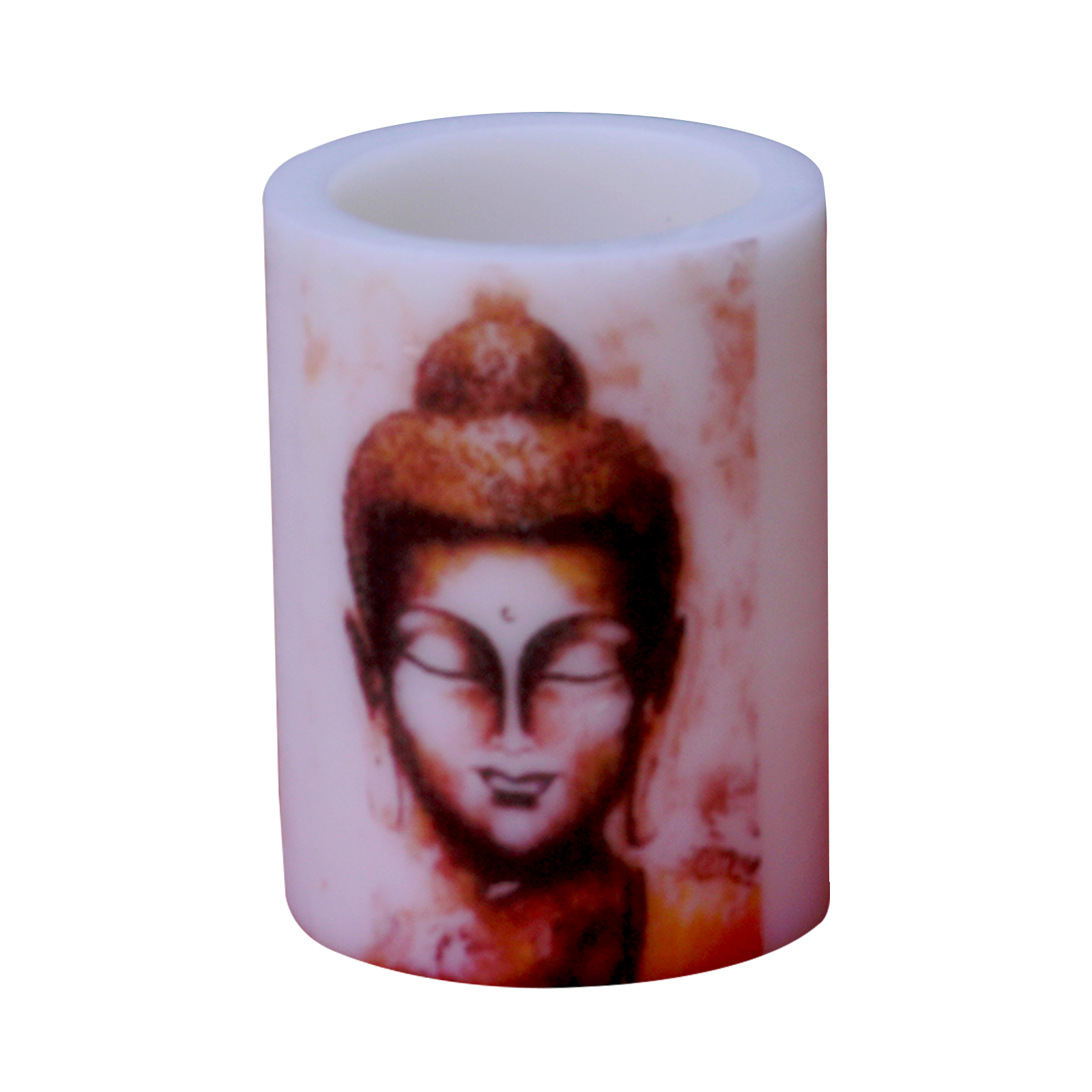 Indha Craft Buddha Print Paraffin Wax Hollow Candle